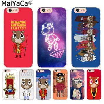 MaiYaCa Kanye West Graduation Bear Luxury TPU Rubber Phone Case cover for iPhone 8 7 6 6S Plus X 10 5 5S SE XS XR XS MAX