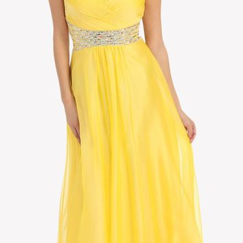 CLEARANCE - Long Yellow Prom Dress Chiffon A Line Jeweled Waist Strapless (Size Large)