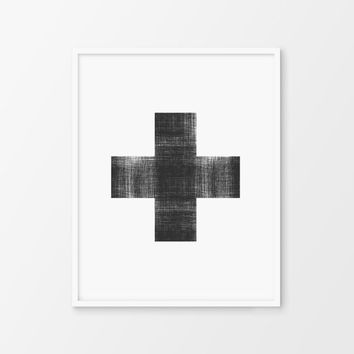 Scandinavian Modern, Swiss Cross, Minimalist Instant Download, PRINTABLE Art, Black and White, 8x10 Print, Trending Art, Nordic Wall Decor