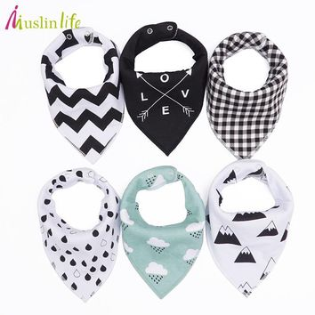 Muslinlife 20 styles 4pcs/lot Baby Bibs Burp Cloth Fashion Print Arrow Triangle 2layer Baby Bibs Cotton Bandana Accessories