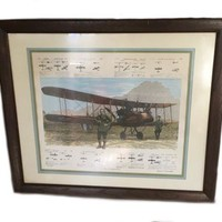 Vintage Lithograph Aces Airplanes WWI Fighter Planes Bruce Hasselle Pilot