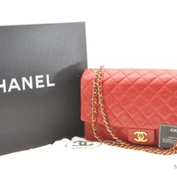 Authentic CHANEL Lamb Skin Matelasse Double Chain Shoulder Bag Red LV 36521