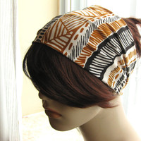 Black and Caramel Brown Tribal Turban, Head Wrap, Wide Hair Tube, Women's Yoga Wrap, Turband, Slip On Headband, Stretchy Headband
