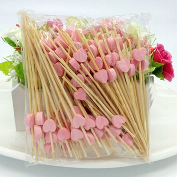 Behokic 100Pcs 12cm Bamboo Heart Food Picks Fruit Fork Sticks Buffet Cupcake Toppers Cocktail Wedding Festive Party Decoration