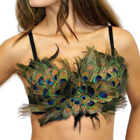 Womens peacock feather bra top edc edm burning man coachella festival