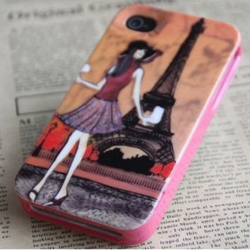 Kate Spade Eiffel Tower Hard Case Cover Shell for Apple Iphone 4