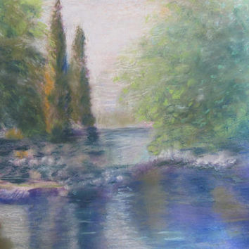 Colorful Landscape Pastel Painting with Texture Original 18x24 inches