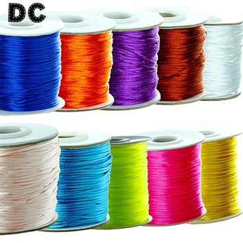 DC 80 yards/Roll 12 Color Satin Silk Macrame Cord Beading Ropes Thread Wide 1.5mm for European Beads Jewelry Making Findings