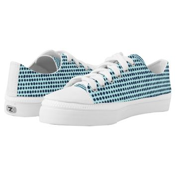 Blue two-tone Handmade Polka Dot Pattern Low-Top Sneakers