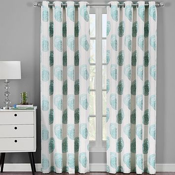 Blue 108x63 Lafayette Jacquard Grommet Curtain Panels (Set of 2)