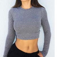 New Women Knitted Sweater Midriff-baring Tops Gift 204