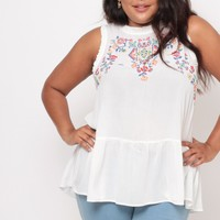 Plus Size Embroidered Peplum Top- Ivory