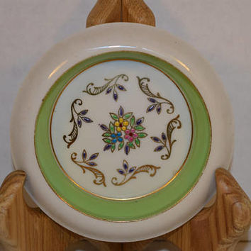 Hunt Hallmark Porcelain Green Coaster Vintage Hand Decorated Fine China Lemon Dish Green Gilded Sauce Dish Elegant Dining Replacement China