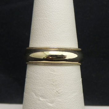 Solid 14K Yellow Gold 3mm High Polish Beaded Wedding Band - Size 6