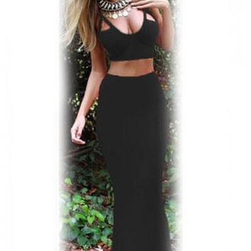 Chicloth Black Two-piece Bodycon Party Maxi Skirt Set