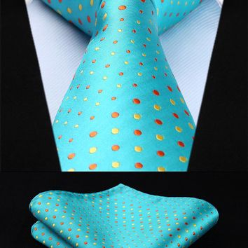 "TD603Q8S Aqua Yellow Polka Dot  3.4"" Silk Woven Men Tie Necktie Handkerchief Set"