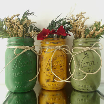Green and Gold, Hand Painted Mason Jars -- Rustic - Style Home Decor | Three Painted Jars