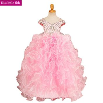 2018 Free shipping Pink Girls party dress Pageant dresses for girls Flower girl dresses Custom made