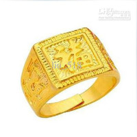 Plated 24K gold ring High imitation gold opening ring Men's gold-plated square ring