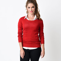 Retro Red Long Sleeve Classic Knit Sweater