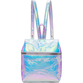 Iridescent Small Crinkled Leather Backpack