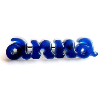 Vintage Anna Lucite Brooch Blue Translucent Personalized Name Pin Broach Acrylic Plastic Kitsch Retro Style