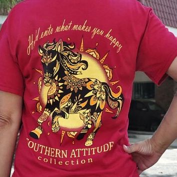 Southern Attitude Preppy Wild Horse Red T-Shirt