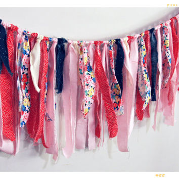Pink Floral Red Dot Fabric Garland Tassel Banner Photo Backdrop Wedding Banner Kid Room Home Decor Wall Hanging Ribbon Banner Polka Dot Blue