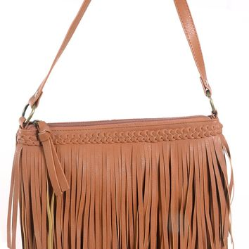 Womens Tan Vegan Leather Fringe Boho Braided Crossbody Purse