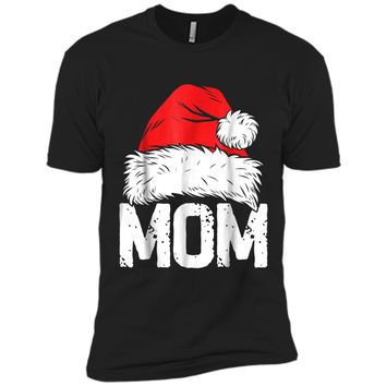 Mom Christmas Santa Family Matching Pajamas Mama PJs Next Level Premium Short Sleeve Tee
