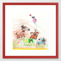 :: Underdogs Party-on-the-Lawn :: Framed Art Print by GaleStorm Artworks | Society6