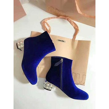 Prada Miu Miu Velvet Ankle Boots With Pearls Blue