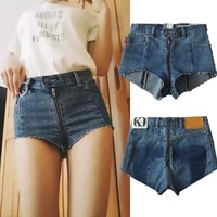 Summer new high waist zipper ladies cowboy [16057106458]