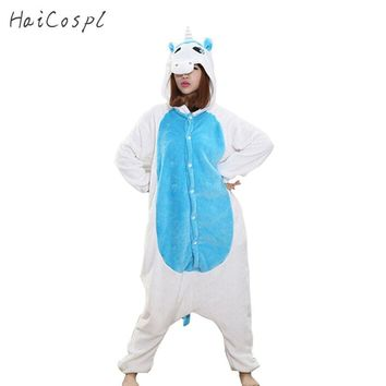 Animals Kigurumi Unicorn Costume Adult Girl kids Unicorn Onesuit Flannel Panda Totoro Women Anime Jumpsuit Disguise Onepiece Suit
