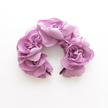 LAVANDER / Pastel violet fabric flower crown / kokoshnik - Ready to Ship