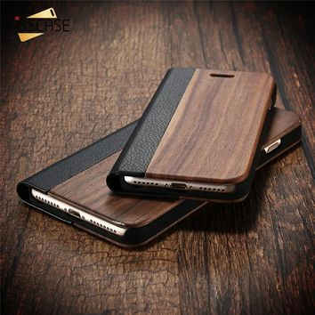 KISSCASE Wood Flip Cases for apple iPhone 6 6s Plus 7 7 Plus Case Retro Natural Real Bamboo Wood Cover for Samsung S7 S7 Edge