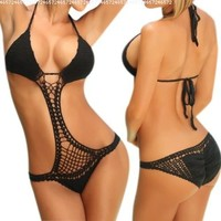 LOCOMO One Piece Scrunch Bottom Style Crochet Bathing Suit BM06 BK Black