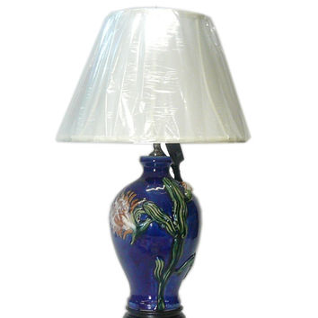 Chinese Navy Blue Flower Porcelain Vase Base Table Lamp