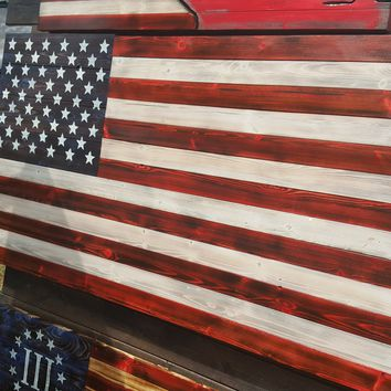 Red, White and Blue Handcrafted Wooden American Flag