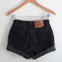 Vintage Black Levi's High Waisted Cut Off Denim Shorts Jean Faded Cuffed USA 25""