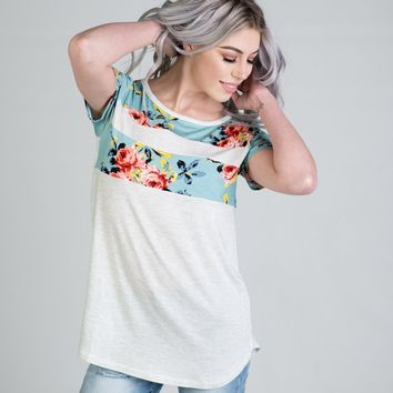 Light Gray and Blue Floral Color Block Top