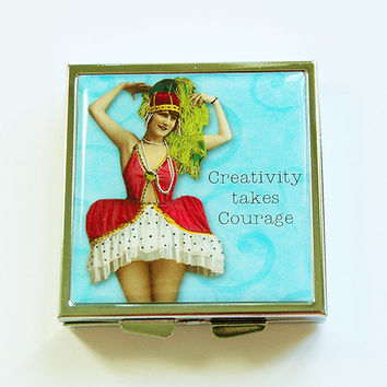 Funny pill box, Funny pill case, Pill Case, Pill Box, 4 Sections, Square Pill case, Funny Women, Creativity Takes Courage, Blue (4349)
