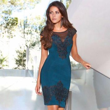 Lipsy Teal Lace Teal Applique Dress
