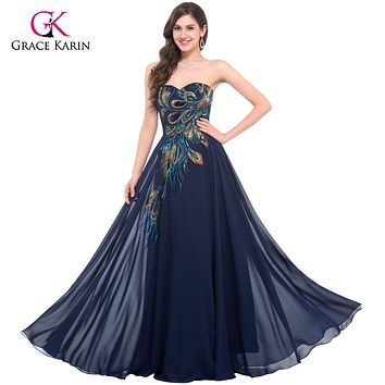 Peacock Dress Grace Karin Purple Evening Dresses 2017 New Arrival Long Party Dress Plus size Formal Evening Gowns robe de soiree