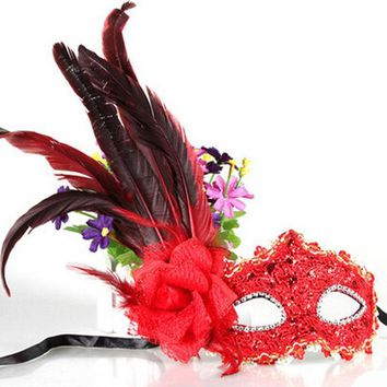 DKF4S Leather Big Plume Flower Mask Party Ball Masquerade Masks Halloween Princess of Venice Mask Woman Lady Female Wedding Decoration