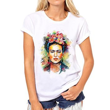 Frida Kahlo Print  Summer 2017 Casual T-Shirt Women Tops Harajuku White Loose Tshirt Short Sleeve T Shirt Femme