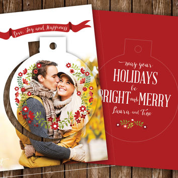 Pop Up Ornament Holidays Card for Engaged / Newly Wed couples.