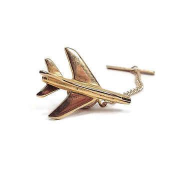 Airplane Jet Vintage Tie Tack Gold Tone Lapel Pin Air Force Flying Mens Formal Jewelry