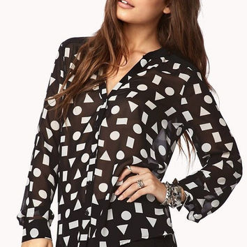 Black Geometric Pattern Asymmetrical Long-Sleeve Collar Chiffon Blouse