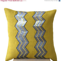 Valentine SALE Yellow burlap pillows - Grey sequin chevron cushion -Decorative cushion covers- Throw pillow -16x16- Gift- Yellow gray pillow